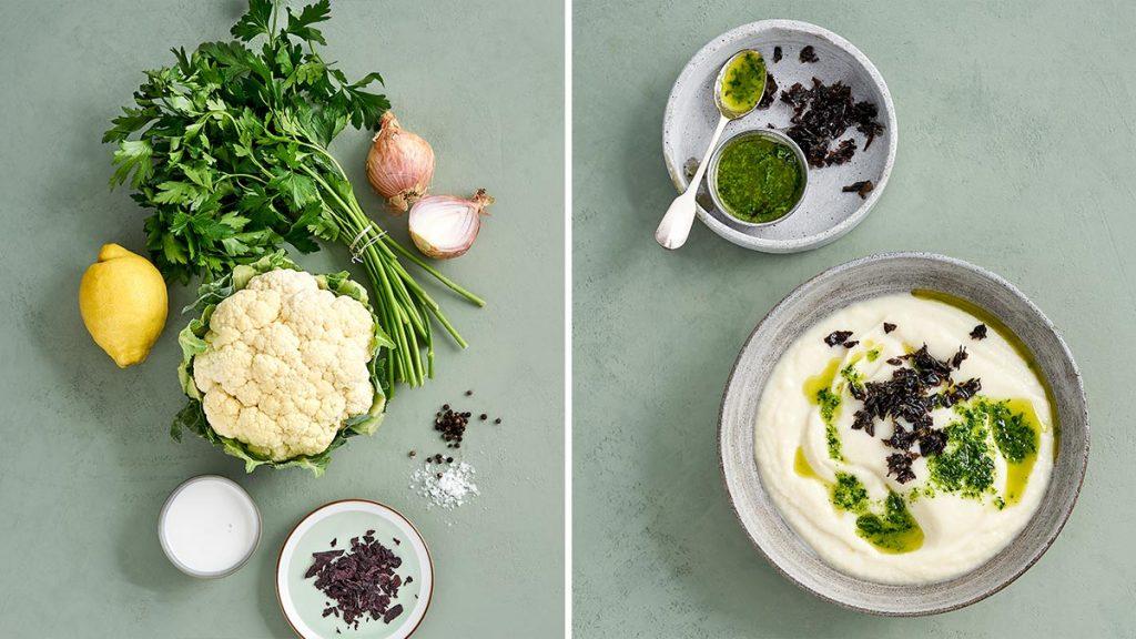 Einfaches und schnelles Rezept für eine raffinierte Blumenkohlsuppe mit Dulse-Algen & Petersilien-Öl. Vegan, glutenfrei und RESET geeignet.