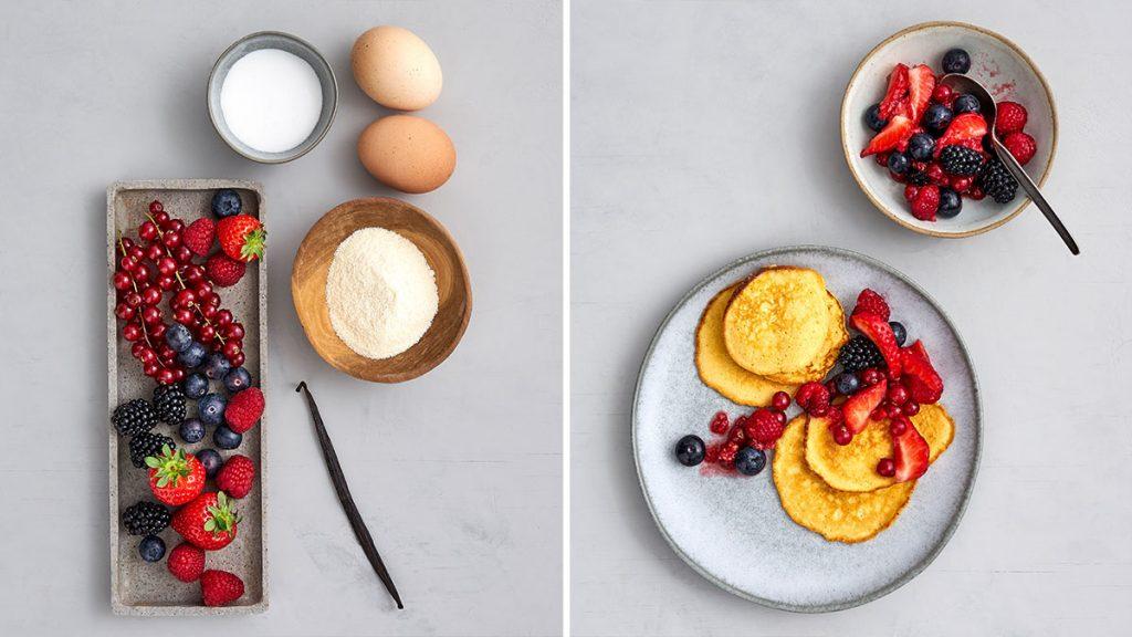 Schnelles und einfaches Rezept für Pancakes mit Beeren. Gesund und RESET geeignet.