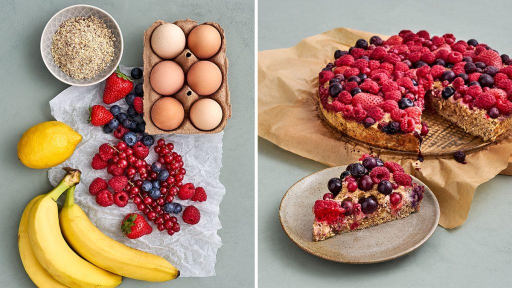 Einfaches Rezept für Beeren-Nuss-Kuchen. Schnell gemacht und richtig saftig. Gesund und RESET geeignet.