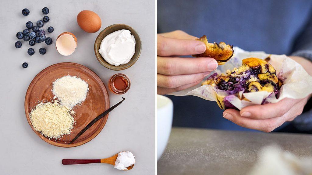 Einfaches und schnelles Rezept für gesunde Blaubeermuffins. Saftig und RESET geeignet.