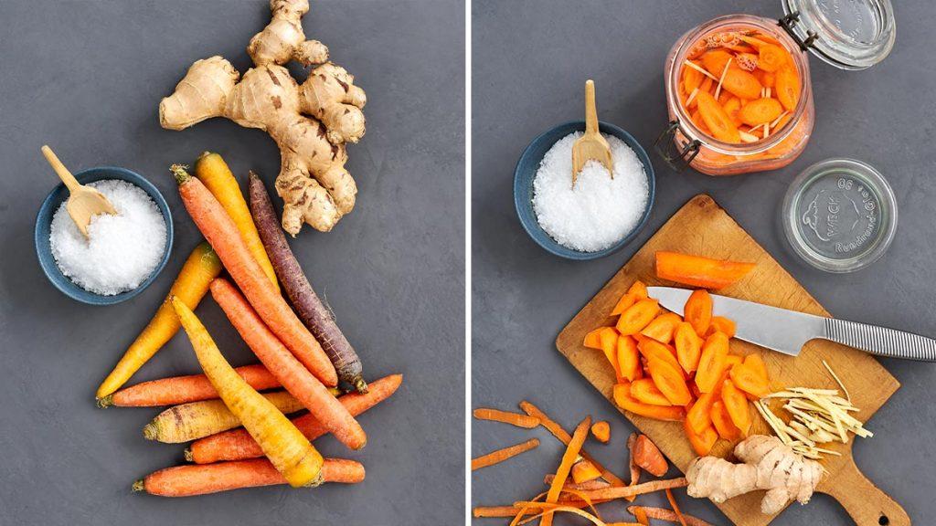 Rezept für fermentierte Karotten mit Ingwer. Gutes für den Darm. RESET geeignet.