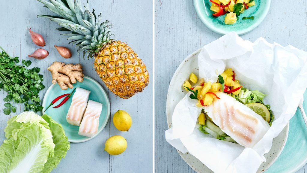 Rezept für Fischpäckchen mit Ananas-Salsa. Gesund, laktose- und glutenfrei. RE'SET geeignet.