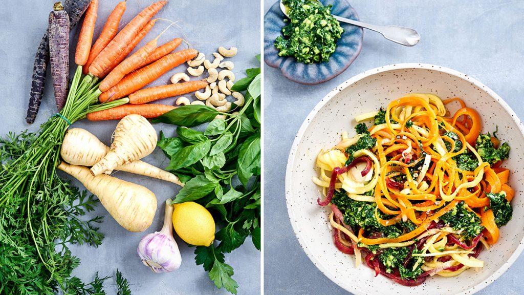 Schnelles Rezept für Gemüsespaghetti mit Pesto. Vegan und RE'SET geeignet.