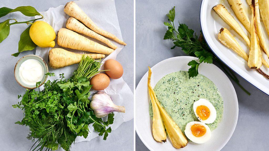 Einfaches Rezept für vegane grüne Soße mit Pastinake und Ei.