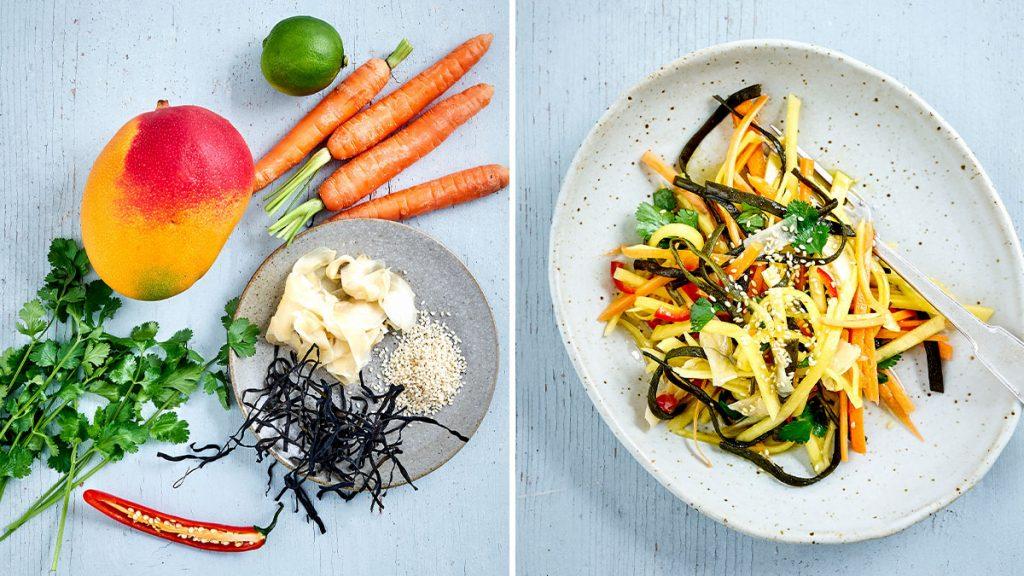 Rezept für veganen Mango-Karotten-Salat. Gesund, glutenfrei und laktosefrei. RESET geeignet.