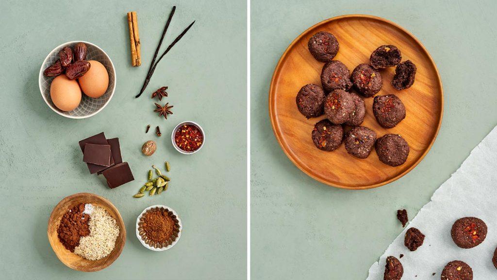 Schnelles und einfaches Rezept für glutenfreie Schoko-Gewürz-Plätzchen. Perfekt zur Weihnachtszeit. RESET geeignet.