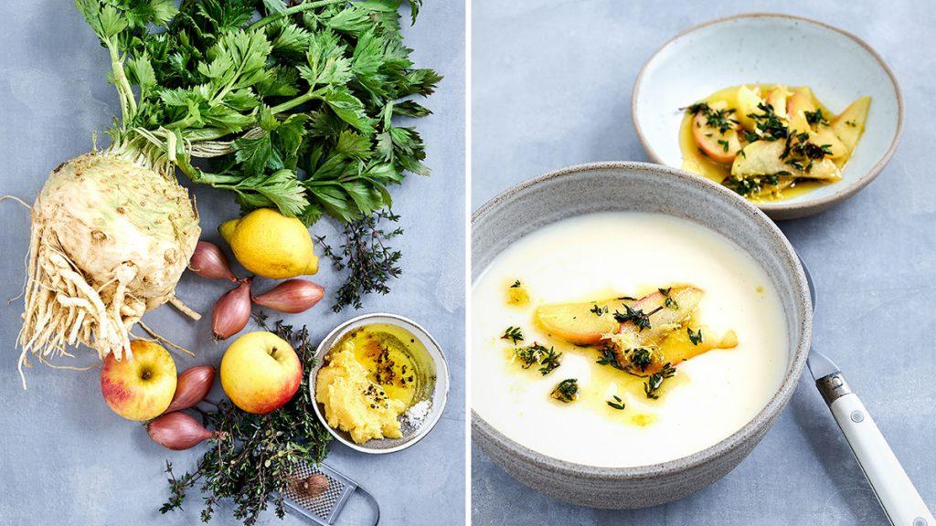 Rezept für Selleriesuppe mit Apfel und Thymian. RESET geeignet, vegan, glutenfrei und gesund.
