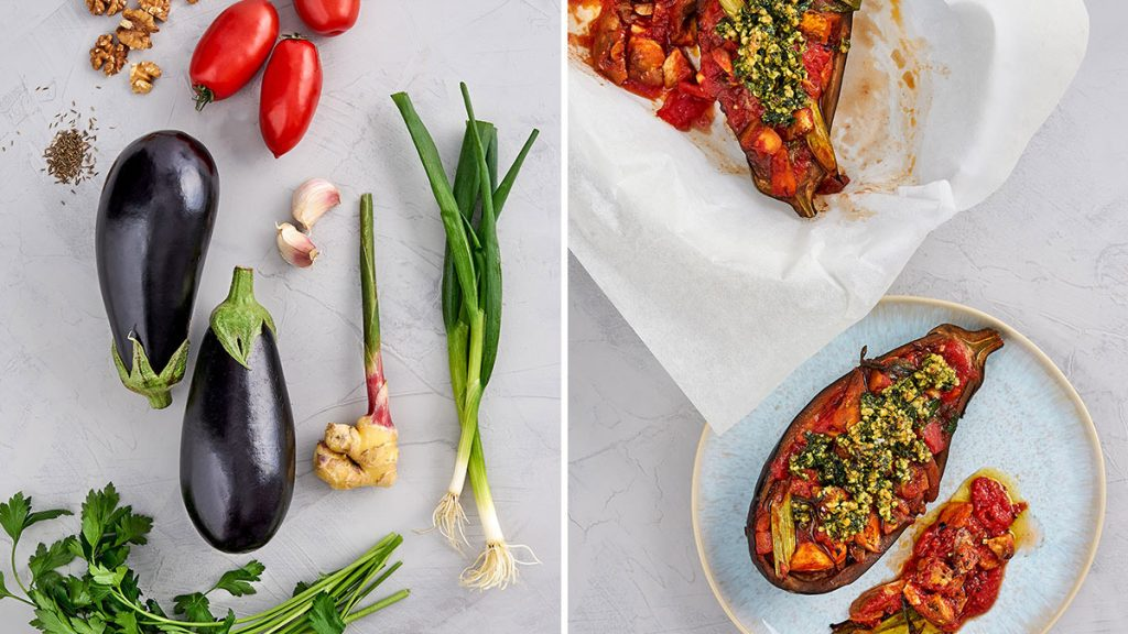 Veganes Rezept für geschmorte Aubergine aus dem Ofen. Gesund und RESET geeignet.