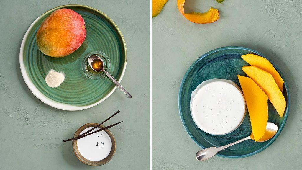Gesundes Panna Cotta mit Kokos. Dazu Mango. Laktosefrei und RESET geeigent.