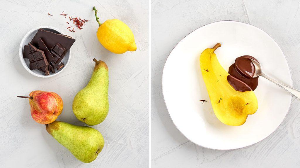 Rezept für Safran-Birne mit warmer Schokoladensoße. Gesundes Dessert, RESET geeignet.
