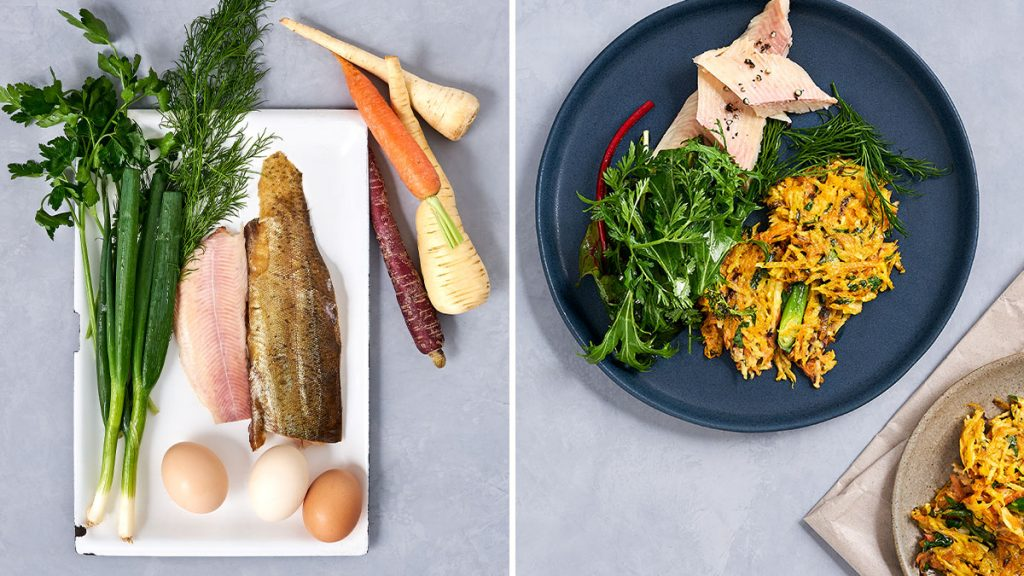 Rezept für Gemüsepuffer mit Forelle und Wildkräutersalat. Schnell gemacht, gesund und RESET geeignet.