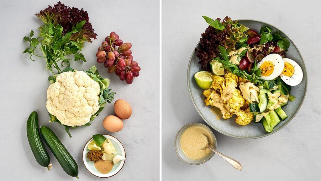 Einfaches und schnelles Rezept für eine roasted Cauliflower mit gebratenem Blumenkohl, marinierten Gurken und Tahini-Sauce. RESET geeignet.