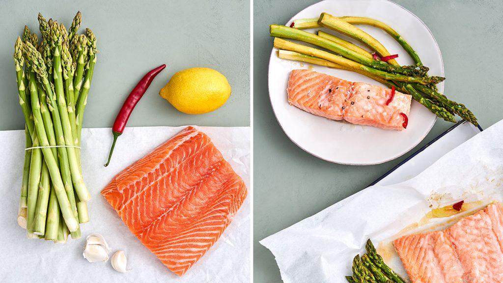 Rezept für marinierten grüner Spargel mit Fisch. Einfach aber raffiniert. Gesund und RESET geeignet.