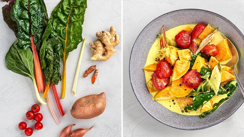 Schnelles, einfaches Rezept für Süßkartoffel-Curry mit Mangold und Tomaten. Gesund und RESET geeignet.