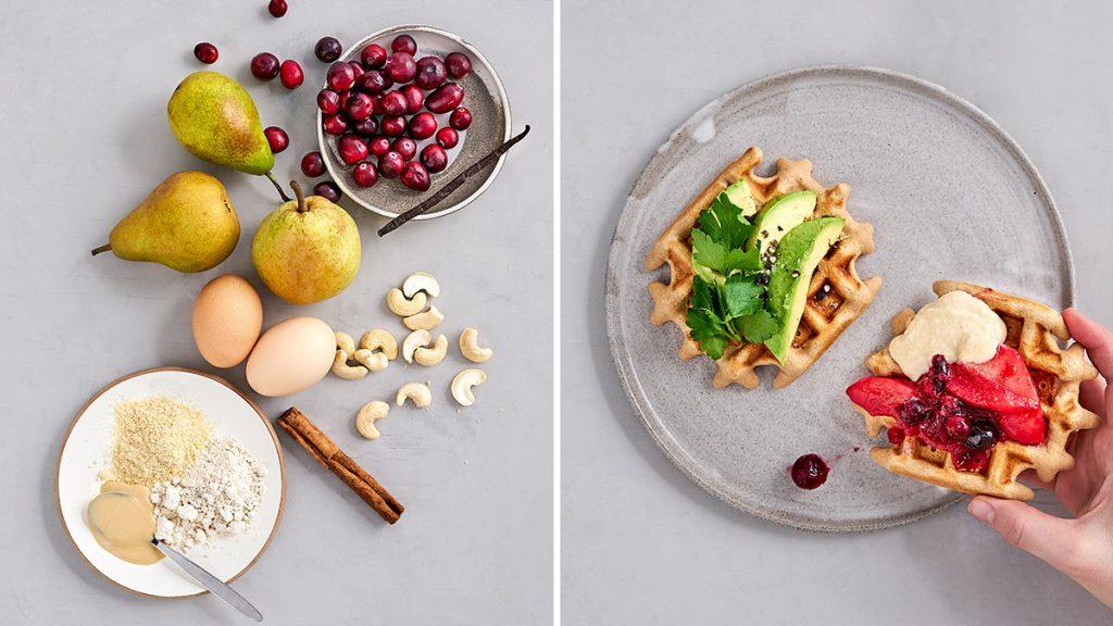 Schnelles und einfaches Rezept für glutenfreie Waffeln mit Cranberry-Birnen-Kompott und Cashew-Sahne. RESET geeignet.