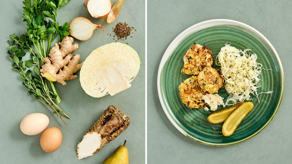 Hühnerfrikadellen mit Krautsalat und Meerrettich. Ein einfaches aber raffiniertes Rezept. Gesund und für die ganze Familie.