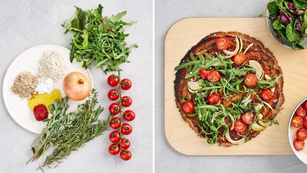 Rezept für artgerechte Pizza mit Rucola, Tomaten und Salat.
