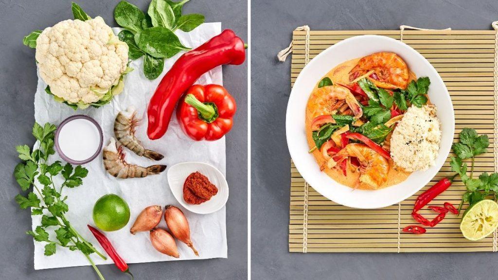 Rezept für Curry mit Garnelen & Blumenkohlreis