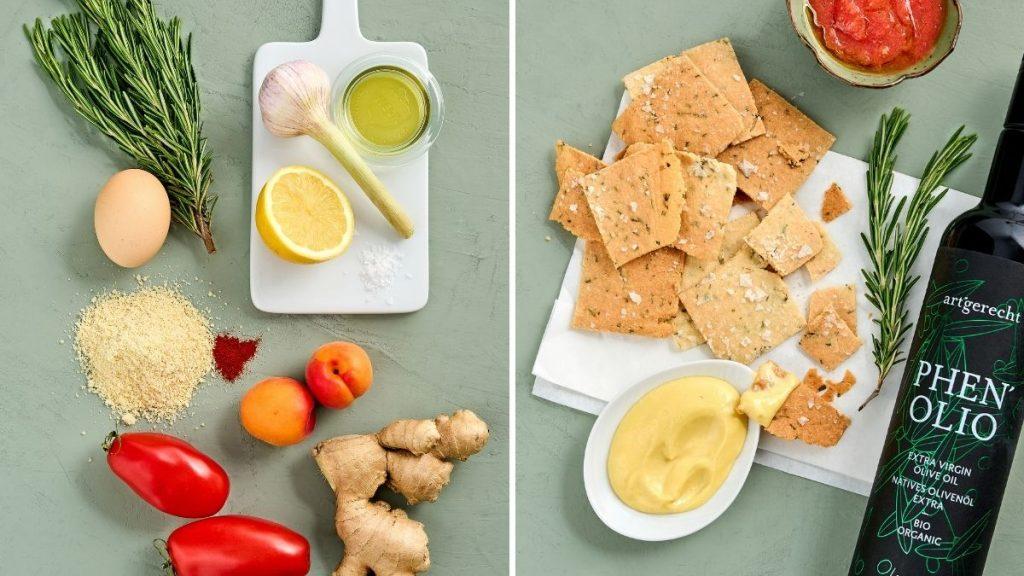 Ein einfaches und schnelles Rezept für Cracker mit Aioli und Tomaten-Dip