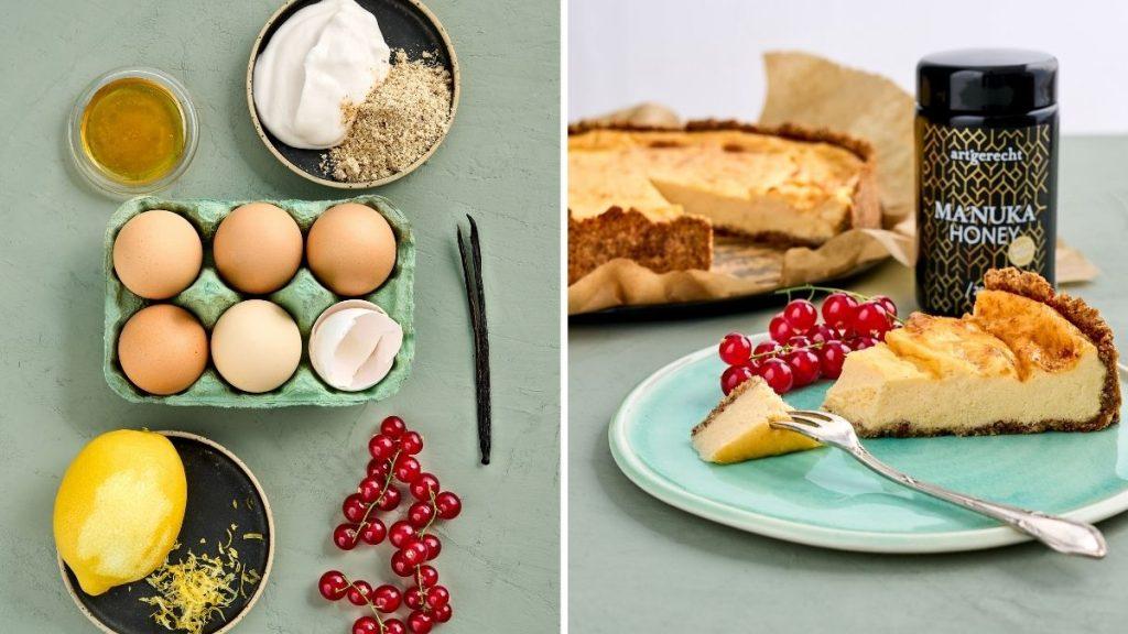 Rezept für einen gesunden Käsekuchen / Cheesecake mit Johannisbeeren. Artgerecht und RESET geeignet.
