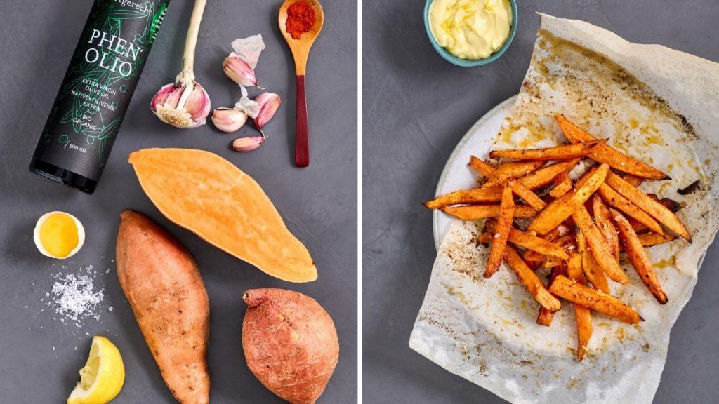 Süßkartoffel-Pommes mit Zitronen-Mayonnaise: vorher – nachher